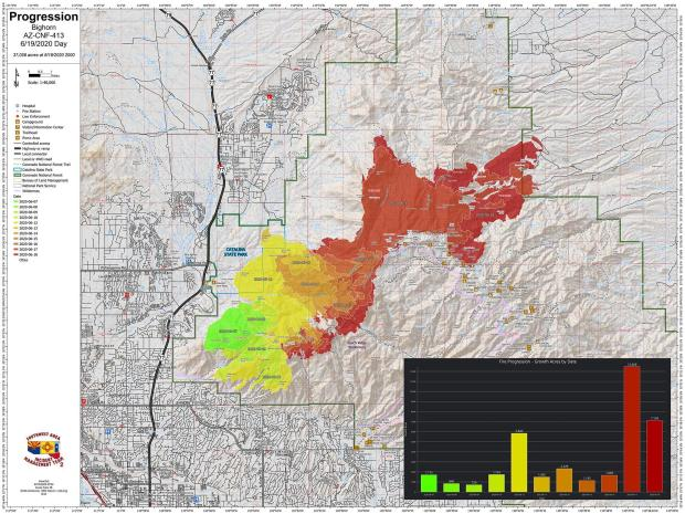 The different colors on the map show the exact burning pattern for the fire since it started