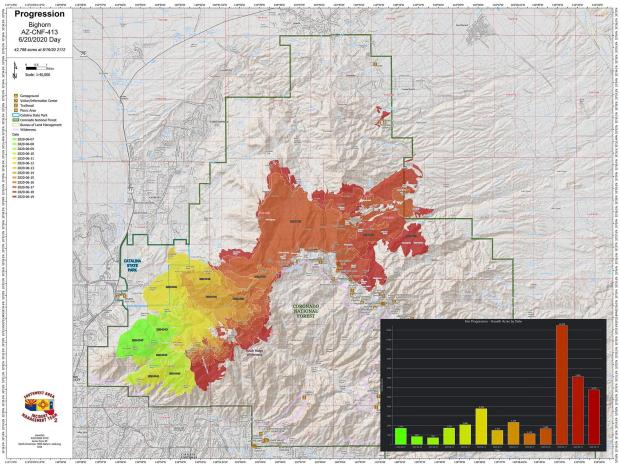 This map is made up of many colors which reflect the growth of the fire day by ay. Most recent is darkest red-orange