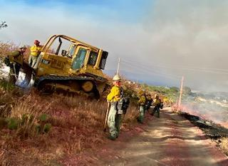 Several firefighters are gathered aound a bulldozer on a slope next to a dirt road. There is a cloud of brown firesmoke behind them. It is a daytime shot.