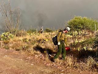 The background is dry desert landscape. A firefighter is walking along a dirt road with a drip torch dragging fire through the dry grass. There is a browinish dark gray wall of smoke behind.