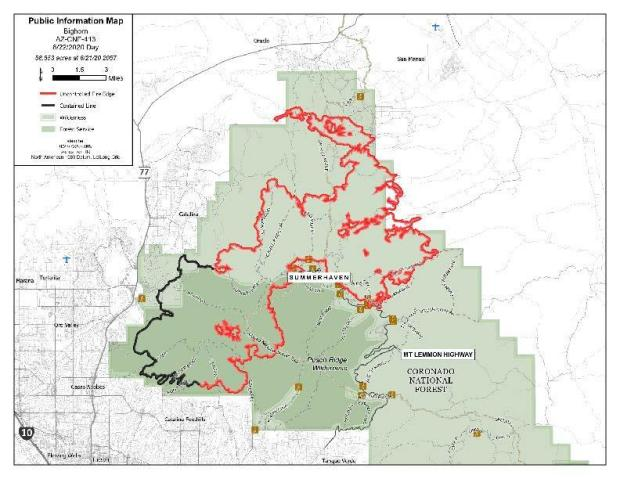 black lines are secure fire line and red lines are not yet secure boundaries of fire actiity