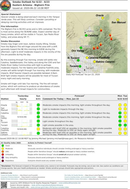 Text and graphics reflecting smoke conditions in communities around the Bi Horn Fire