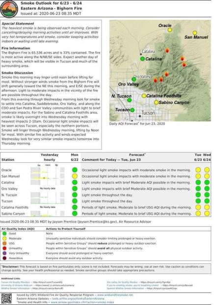 Map showing fair to good smoke conditions for June 23 and 24