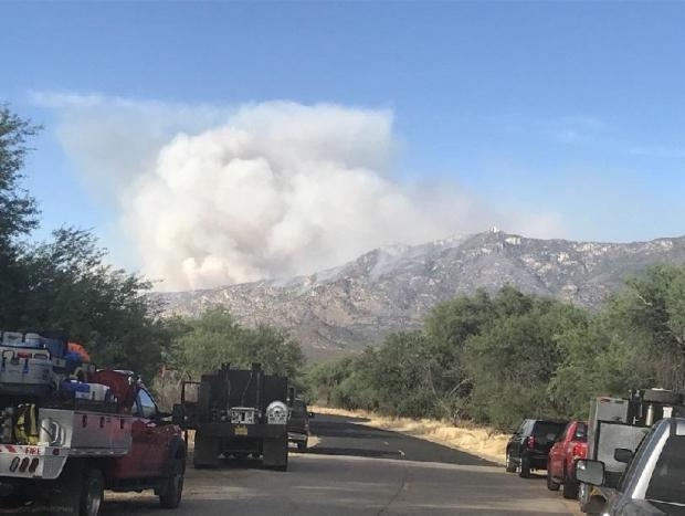 large smoke plume by Catalina State Park