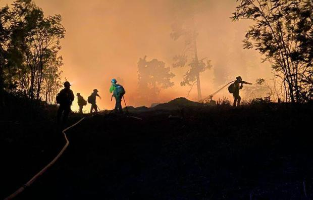 firefighters stand in the orange glow fire