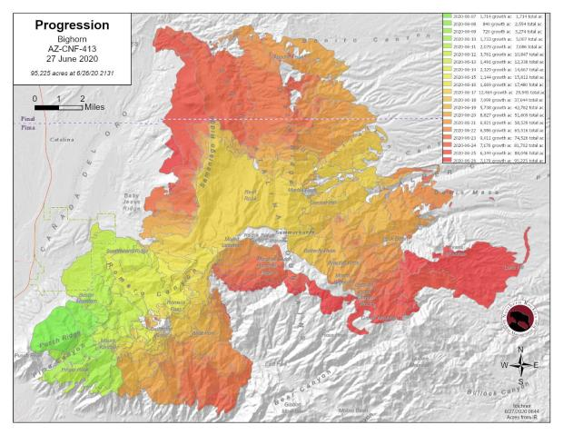 fire progression map showing different colors for different days