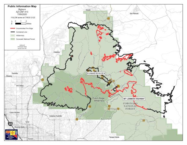 fire perimeter map, july 9