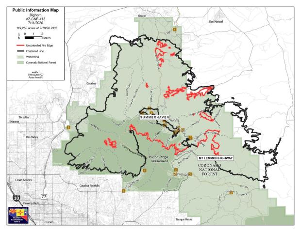 fire perimeter map, july 11