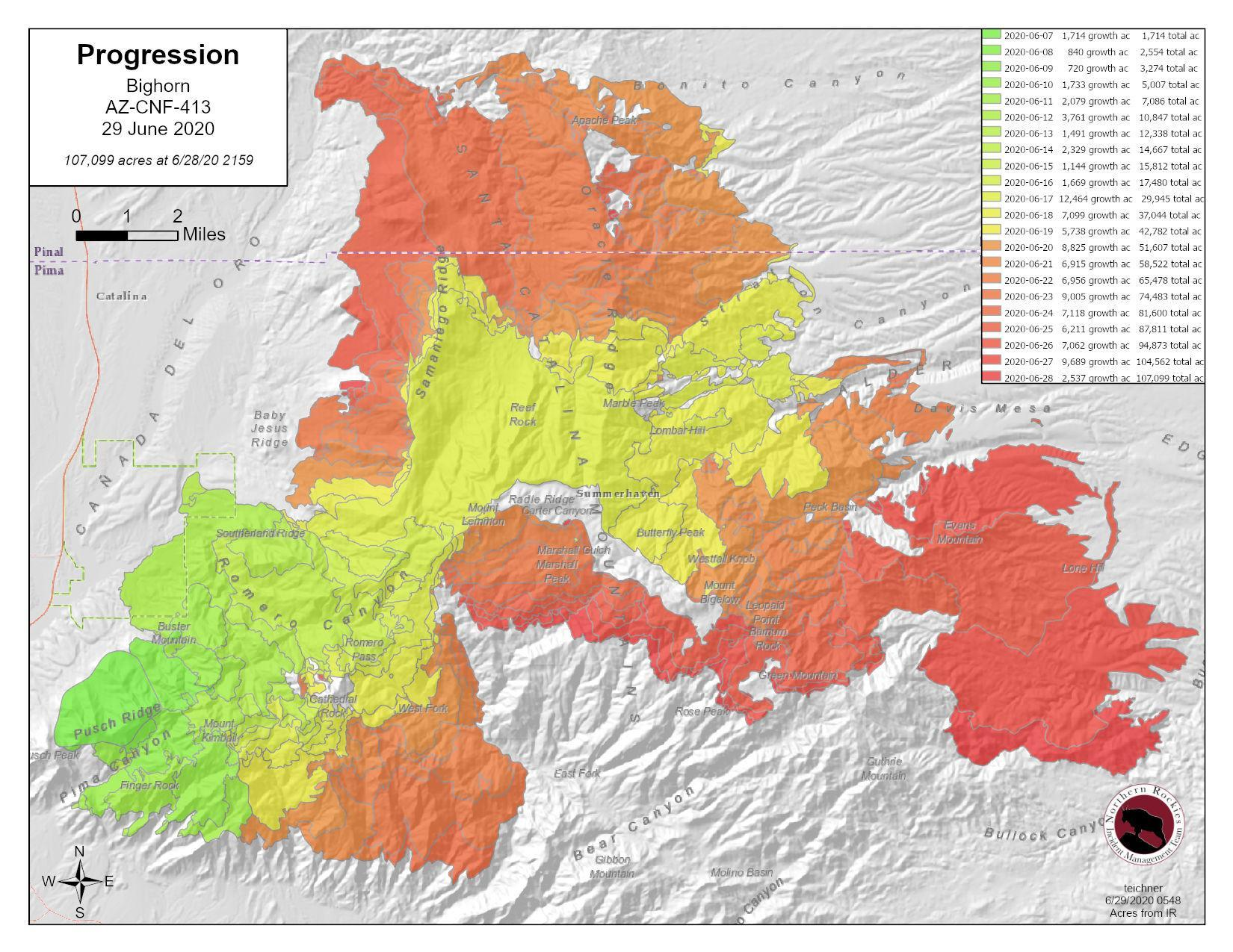 fire progression map in various colors June 29