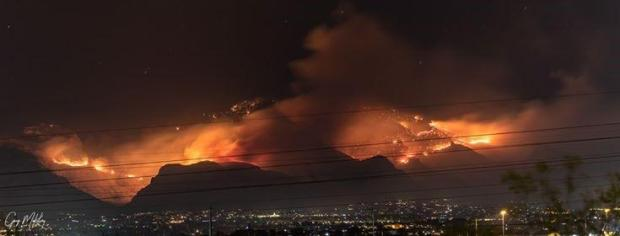 Panoramic photo of the Bighorn fire burning at night on 6/11/02020