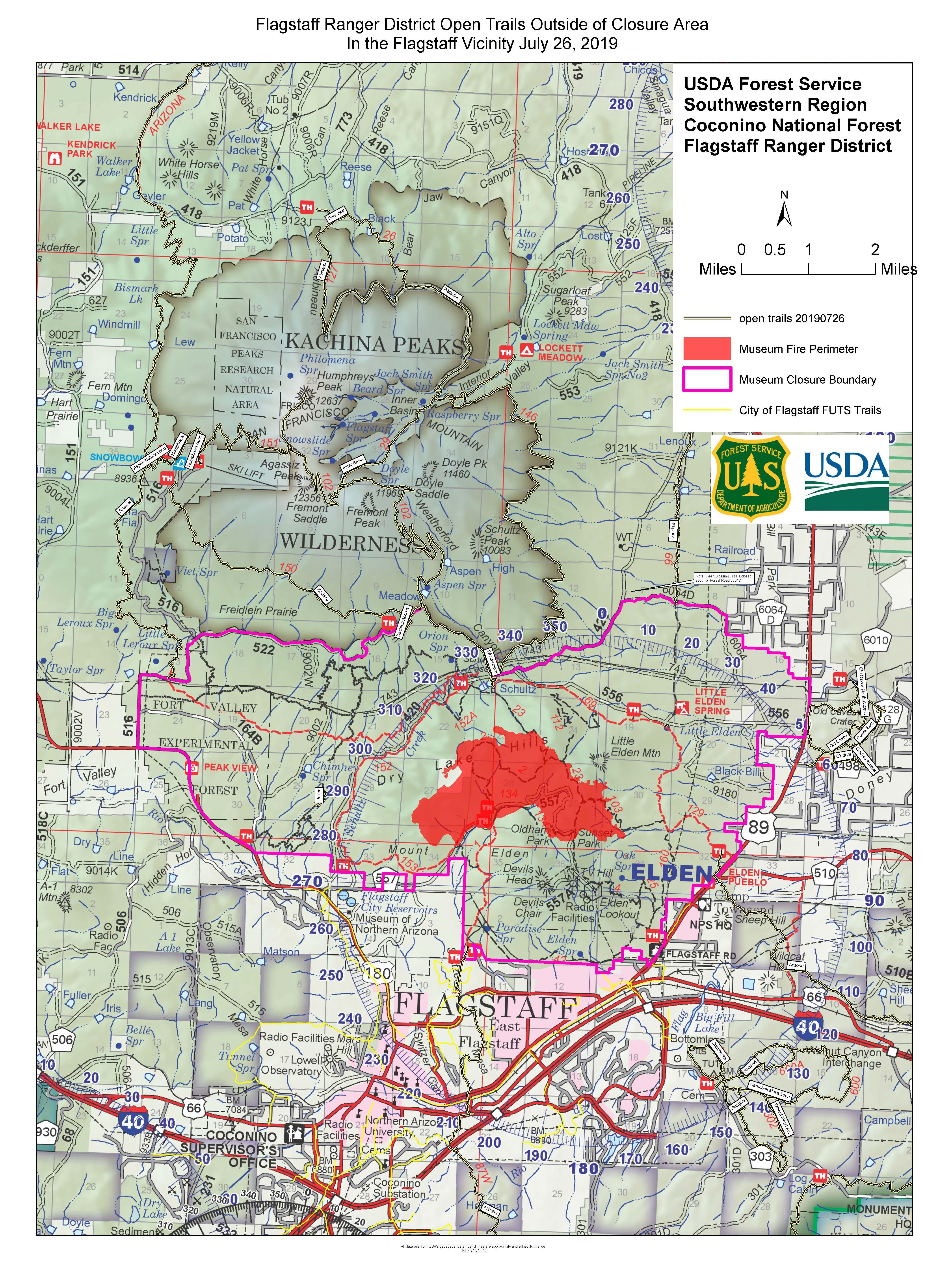 Open Trails Outside of Fire Closure Area on Flagstaff Ranger District