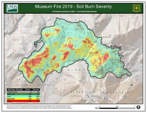 Map showing soil burn severity within the Museum Fire. Severity is depicted by green, yellow, and red for low, moderate, and high severity.