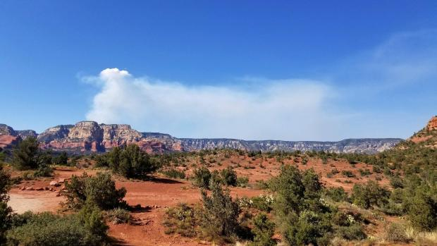 Smoke column view from Dry Creek TH on 8-19-19