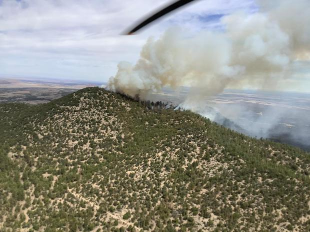 Slate Fire, as seen on 6-7-21 at 1035 from helicopter.