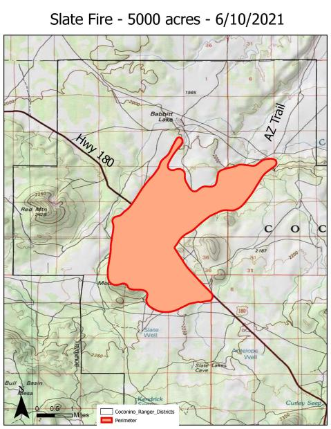 A map of the Slate Fire progress as of 6-10-21.