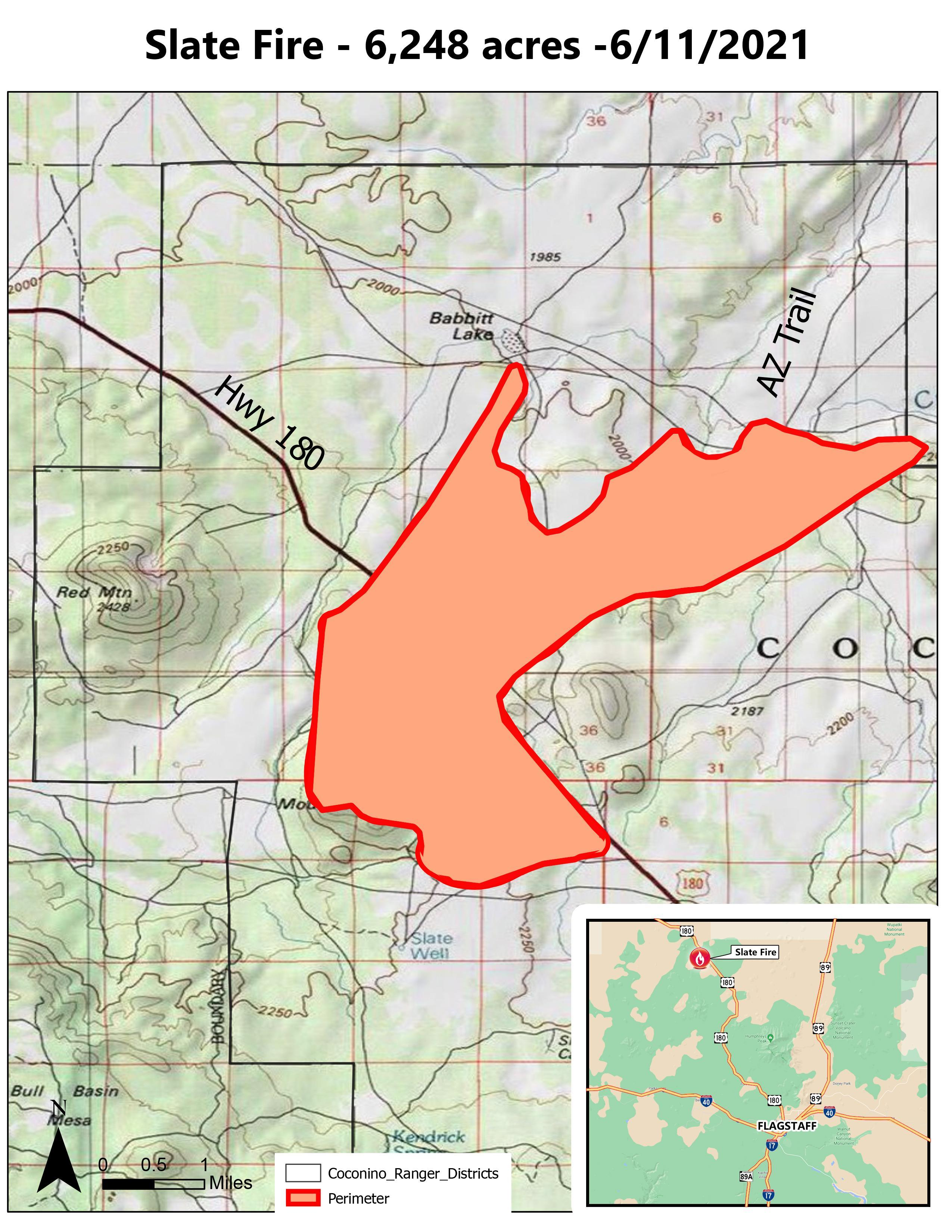 A map of the Slate Fire progress as of 6-11-21.