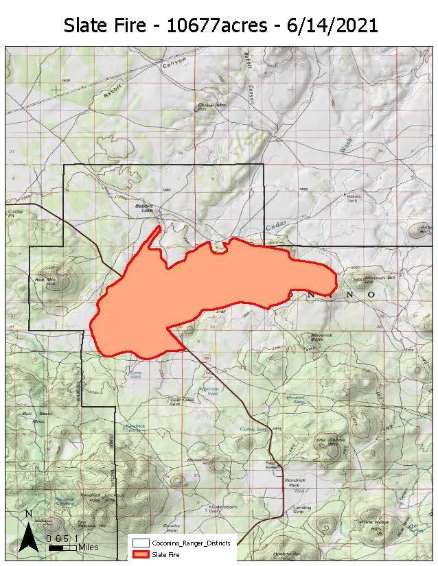 A map of the Slate Fire progress as of 6-14-21.