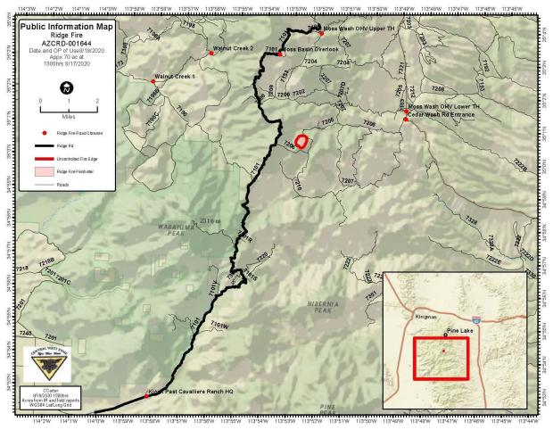 Ridge Fire Map with Road Closure Points JPEG