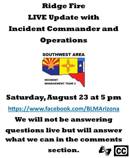 Graphic with Team Logo announcing live Facebook meeting August 23 at 5 pm. Questions will not be answered live but can be posted in the comments. We will answer what we can.