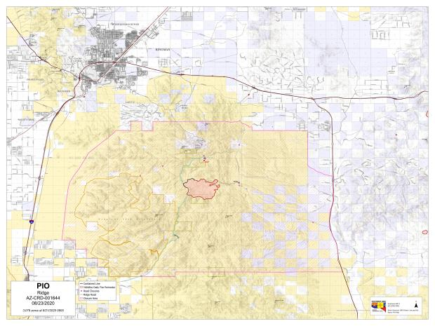 Public Information Map for the Ridge Fire for August 24. Current Acreage 3,079 and 16% containment