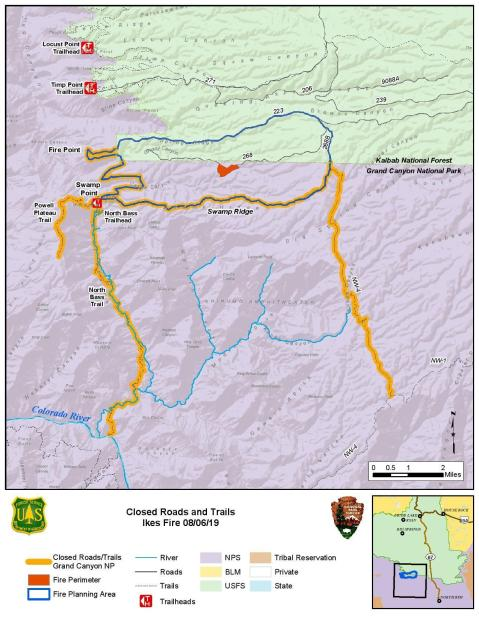 Ikes Fire Closure Map - Grand Canyon National Park