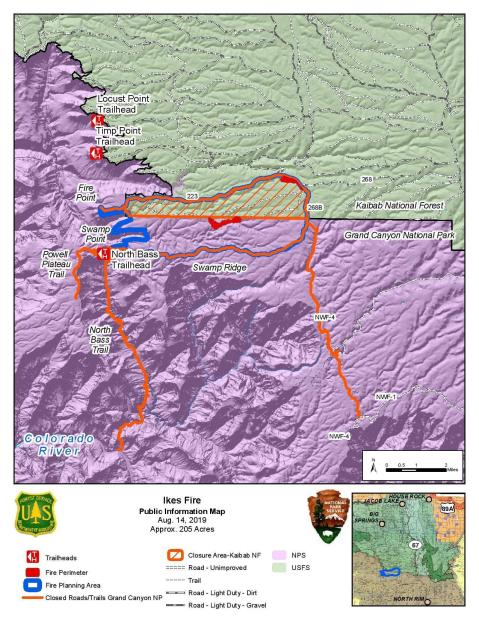 Ikes Fire Public Information Map August 14, 2019