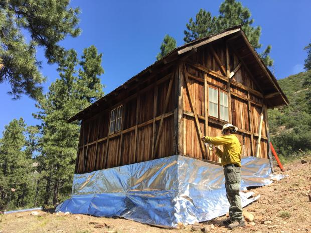 NPS Saguaro Module wraps the Muav Cabin with a material made out of aluminum.  This material is designed to protect structures from direct flame and embers. This is done as a precaution incase fire moves below the rim. Photo taken August 30, 2019