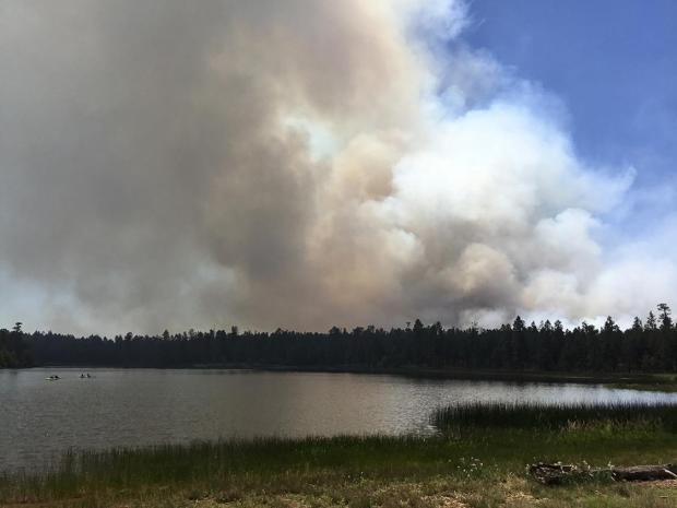 Smoke column after aerial ignitions near Whitehorse Lake.
