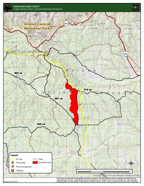 Vicinity map of the Russell Prescribe Fire project