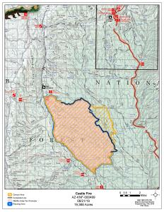 Castle Fire Map with Closure Area 08-21-19