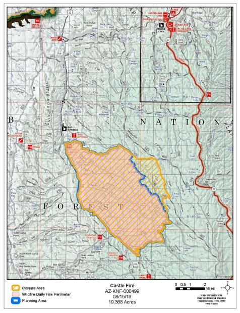 Castle Fire Map with Closure Area 8-15-19