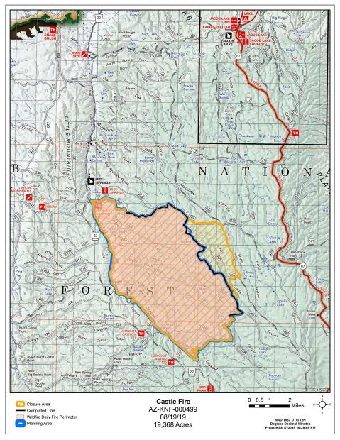 Castle Fire Map with Closure Area 8-19-19