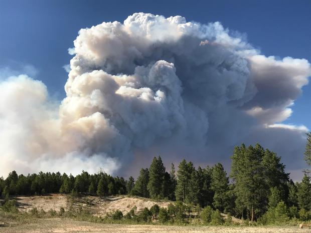 Extreme fire behavior on the Mangum Fire for June 12, 2020 produces large column