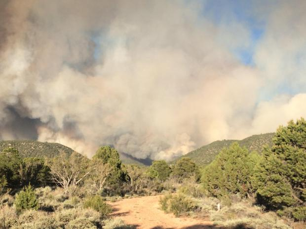 Smoke produced from the Mangum Fire for June 12, 2020