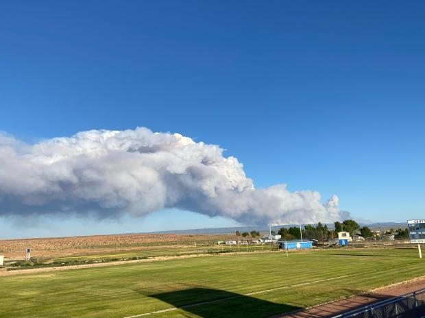 View of the Mangum Fire smoke column from the Fredonia High School