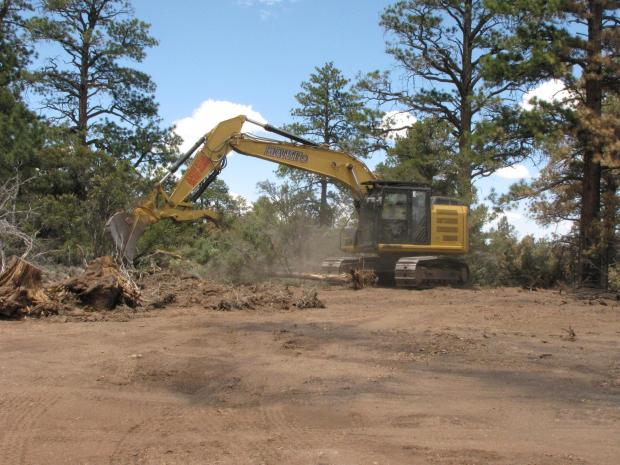 excavator moving woody debris onto dozer line