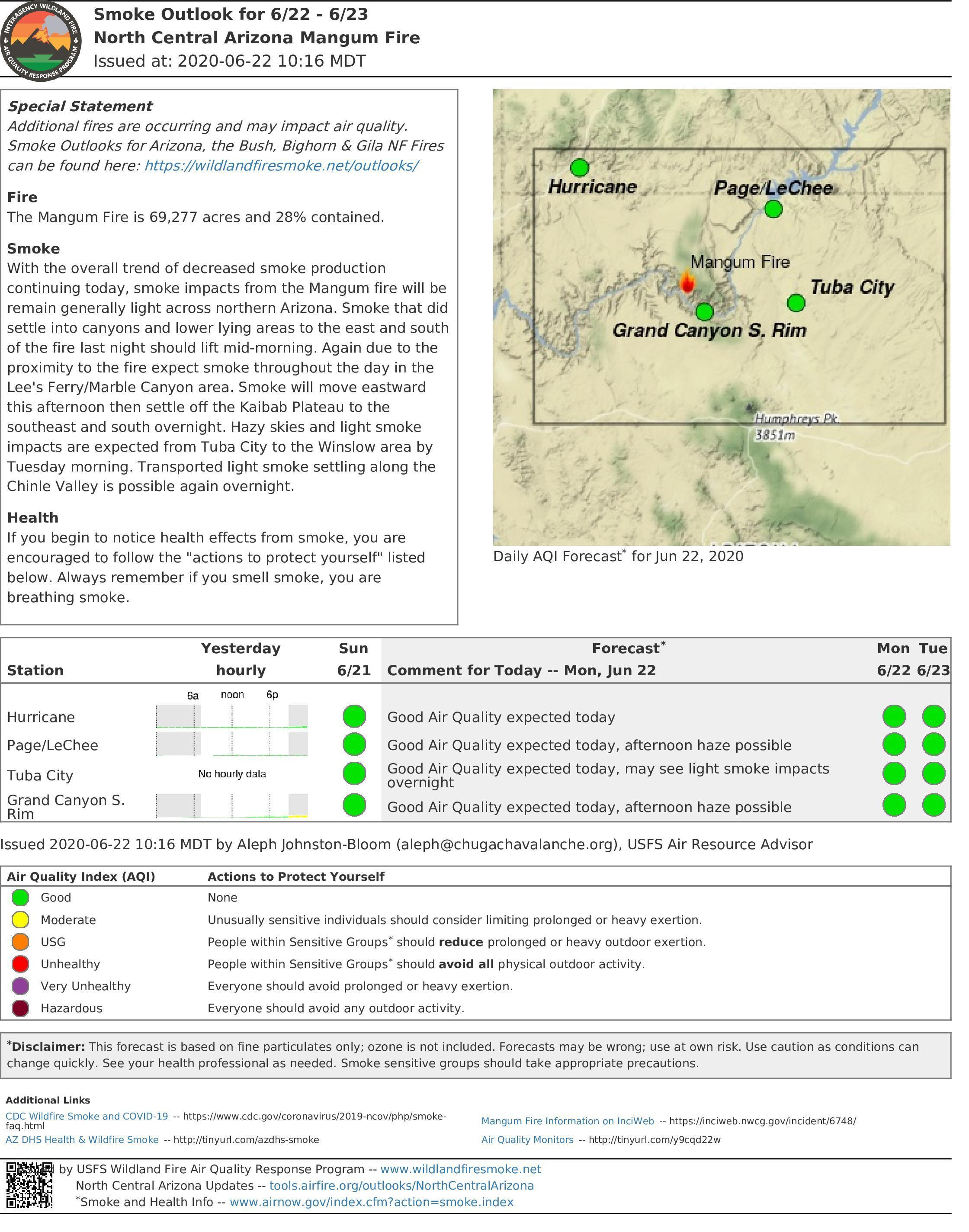 Smoke Outlook for Mangum Fire 6.22.20