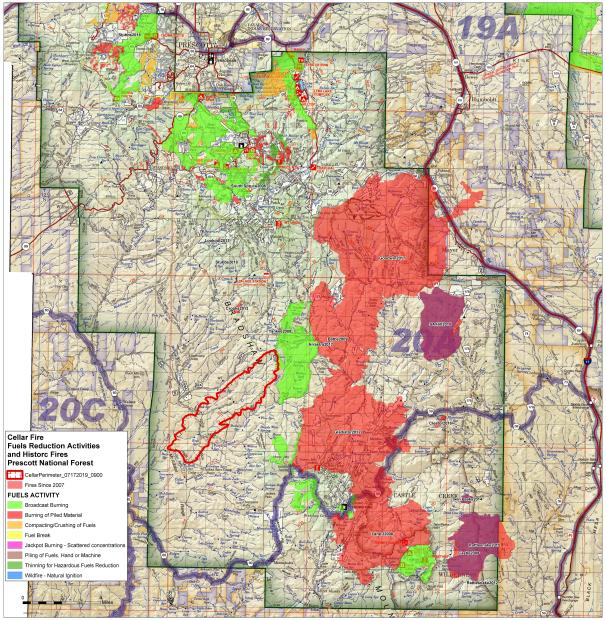 Map of Cellar Fire perimeter the morning of July 17 with shaded areas depicting other past wildfires and prescribed fires in the area