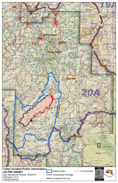 July 24 Map showing the fire perimeter and the revised Cellar Fire Public Safety Closure Area