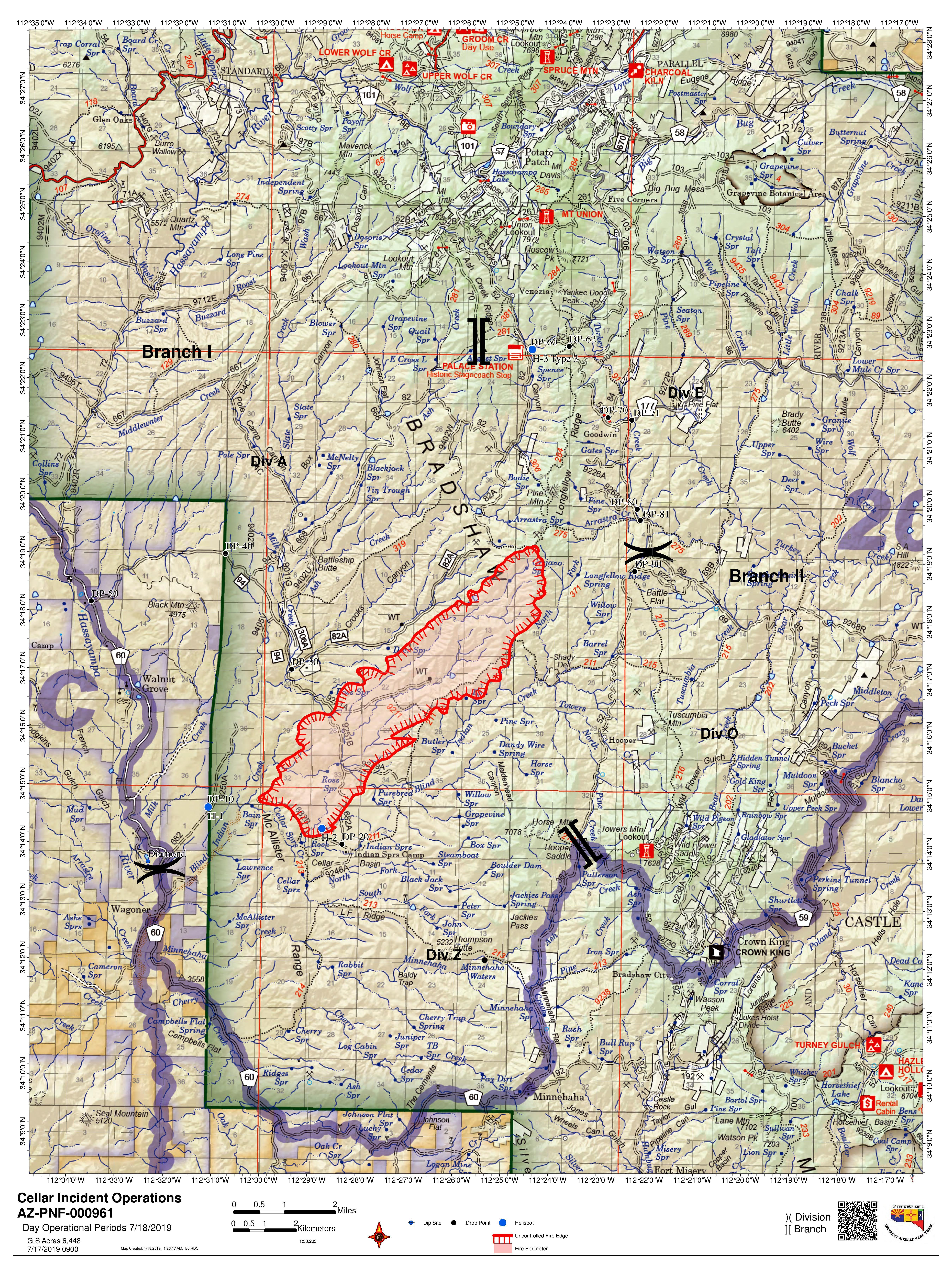 Operational briefing map for the Cellar Fire on Thursday, July 18, 2019