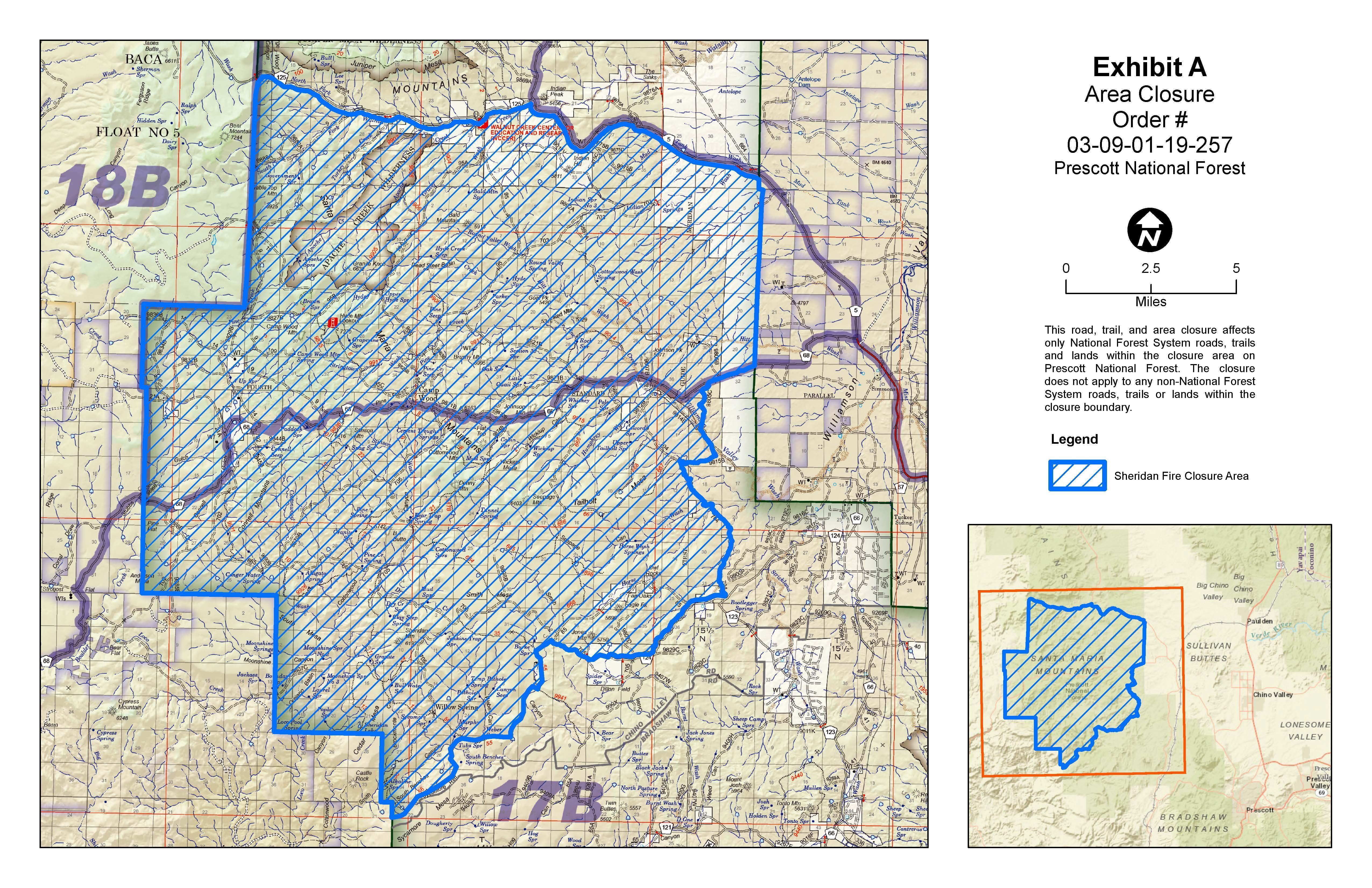 Expanded Sheridan Fire Closure Area Map