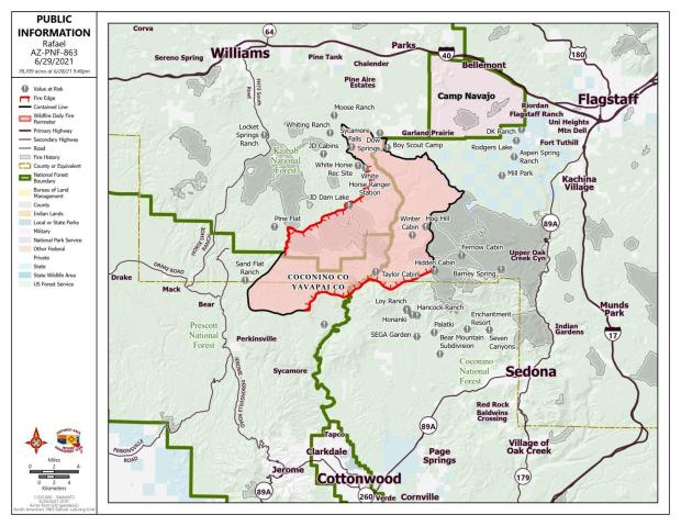 Rafael Fire Public Information Map showing red uncontained line and 59% black contained line