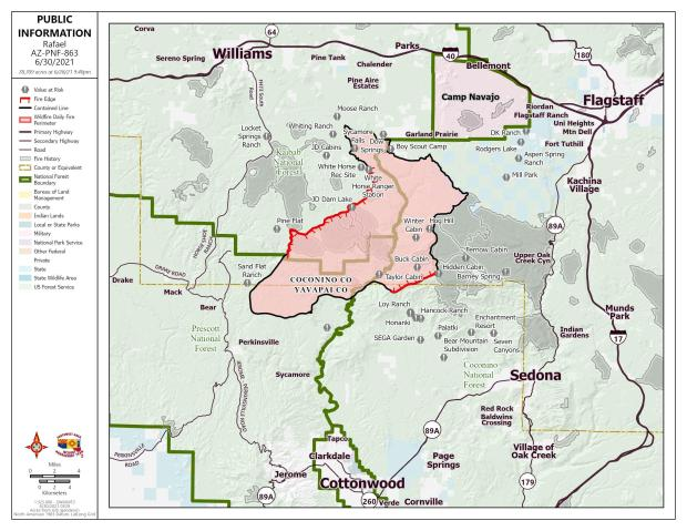 Rafael Fire Public Information Map showing red uncontained line and 72% black contained line