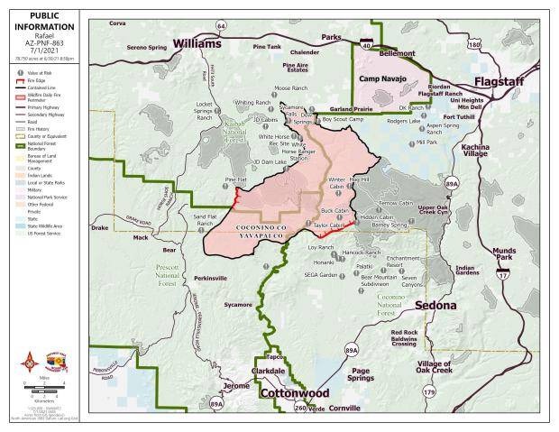 A map showing the fire perimeter.  Black is 89% contained line, red is uncontained line.