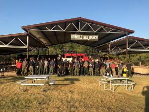 Group photo of firefighters spike out at Bumble Bee Ranch July 9