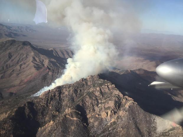The Sycamore Canyon Fire as seen from the air.