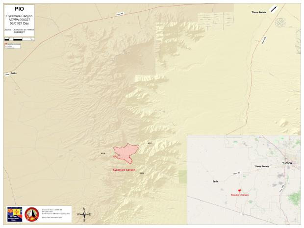 Sycamore Canyon Fire Map June 1. 2021