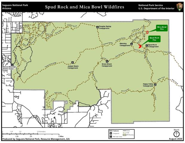 Map of Saguaro National Park East District  showing Mica Bowl and Spud Rock Fire locations