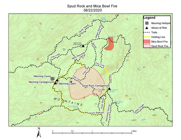 Map of the fire areas showing the fire perimeters of both the Mica Bowl and Spud Rock Fires