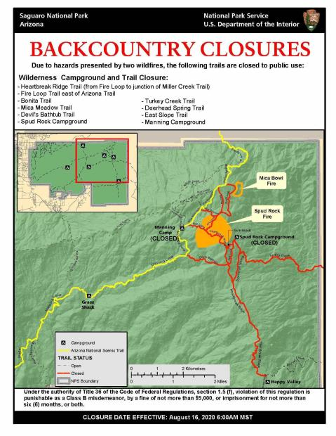 Map of Mica Mountain area of Saguaro National Park Showing closed trails in red and the Arizona Trail in yellow